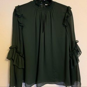 Zara high neck blouse with ruffle details